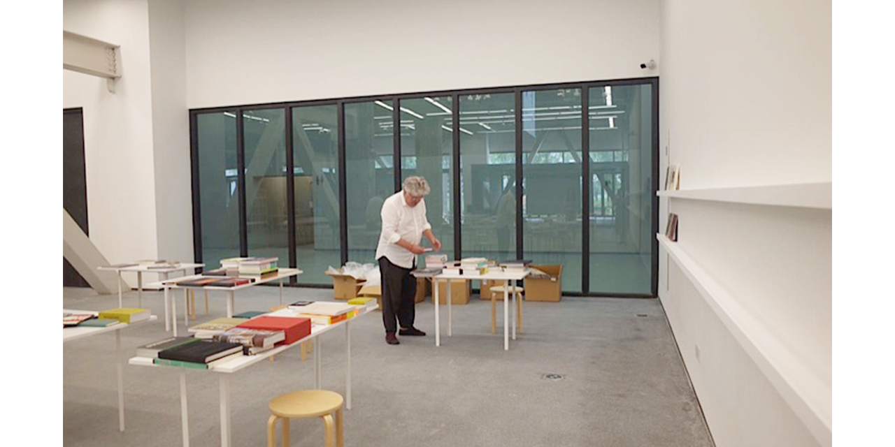 Lars setting up the exhibition space