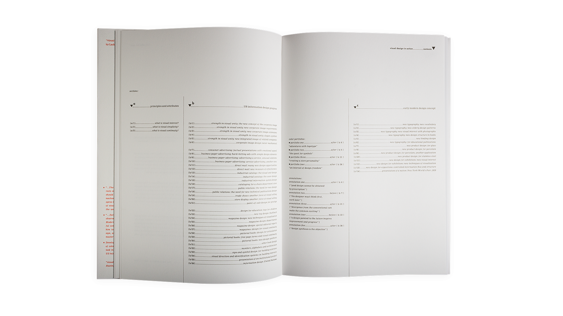 Sutnar's table of contents uses a system of letters and numbers, rather than pages.